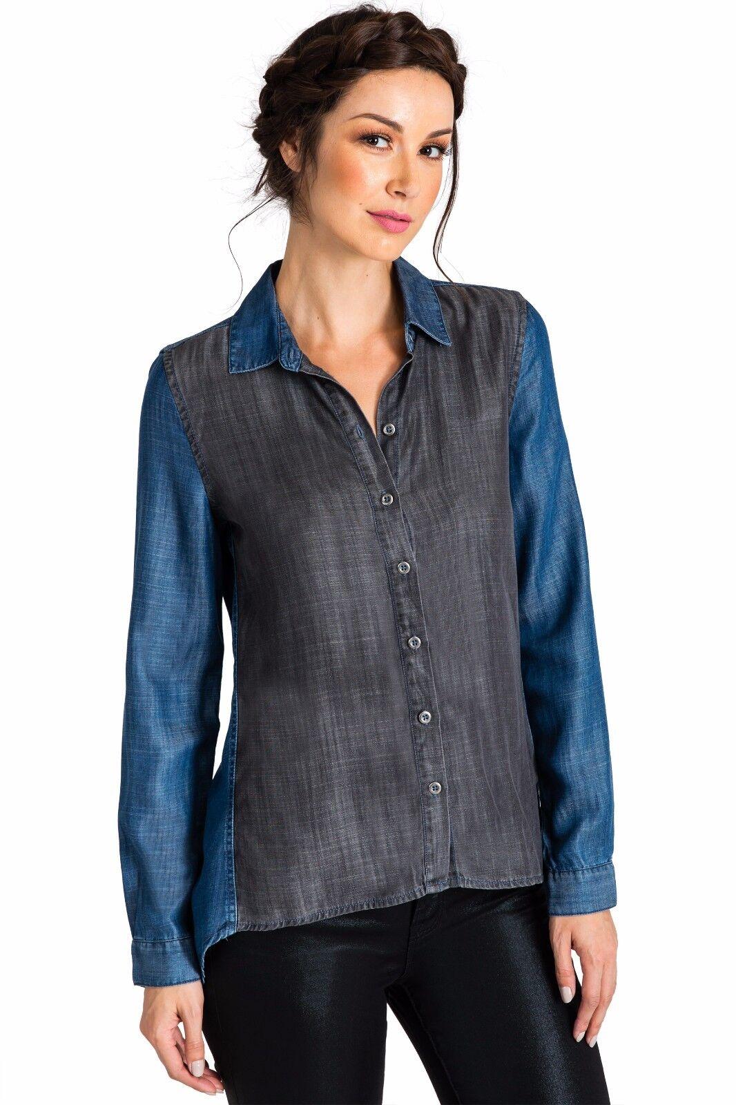 Standards & Practices Modern Woherren Two Tone Tencel Button Down High Low Shirt