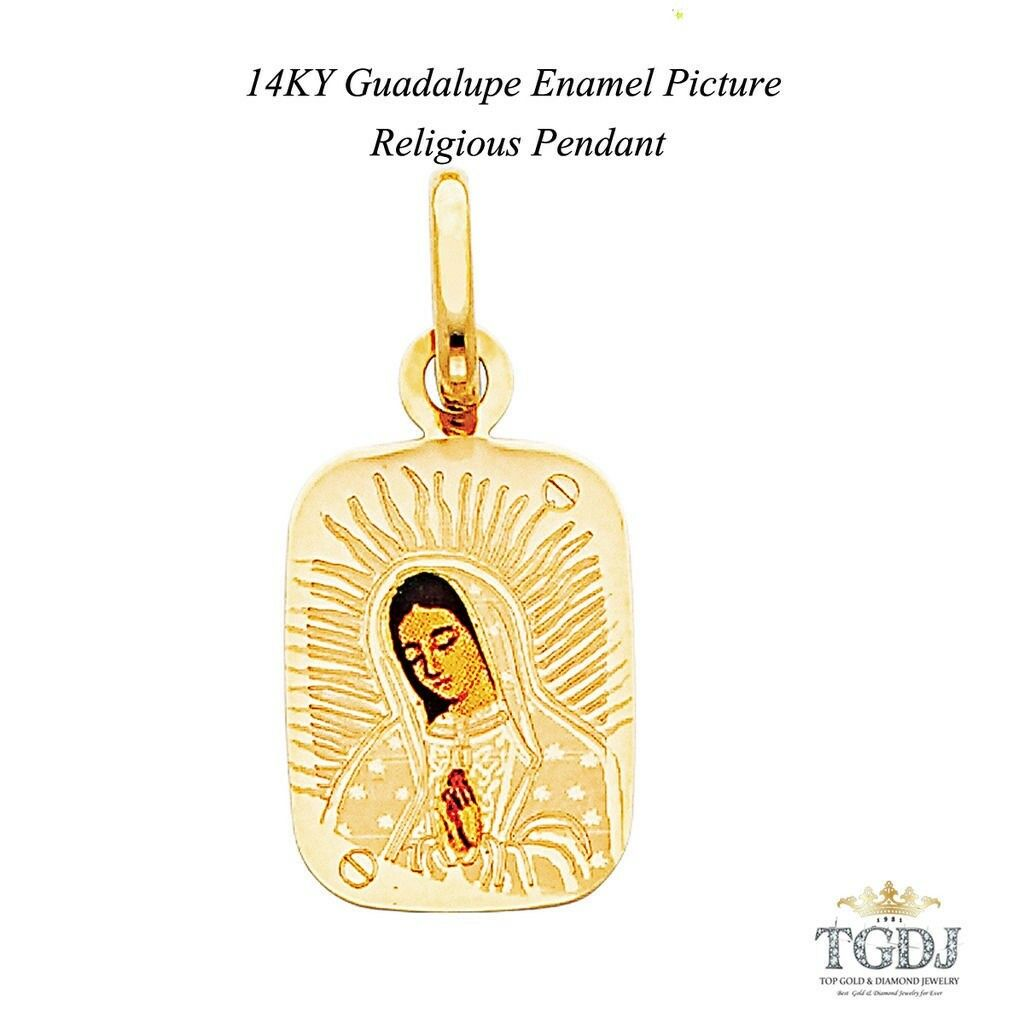 Guadalupe Enamel Picture Religious Pendant 14K  Yellow gold  H 21 MM  W 13 MM