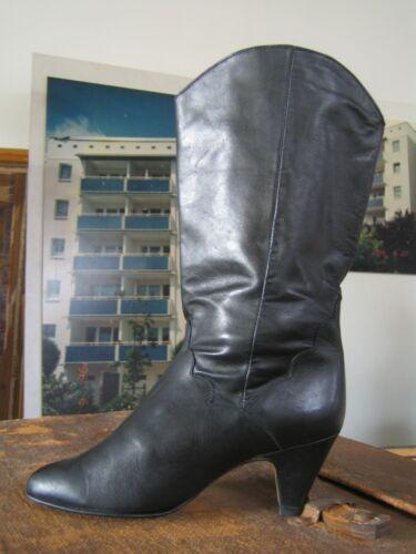 Black Schwarz Damenstiefel Stiefel 80er 80´s Boots Rocker True Slouch Vintage 8vnwNym0O