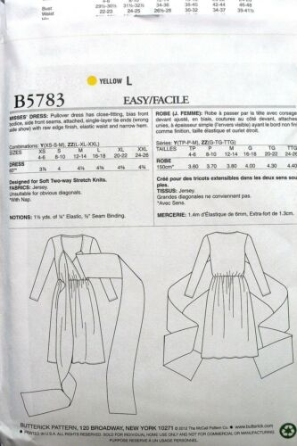 BUTTERICK B5783 MISSES WRAP TWIST TIE KNITS DRESS SEWING PATTERN SIZE XS-M NEW