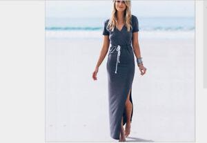 Sexy-Blue-HALTER-Pencilskirt-Bodycon-Clubwear-Evening-Party-Midi-Dress-Skirt