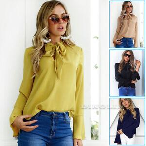 Women-Ladies-Elegant-Pussy-Bow-Blouse-Shirt-Flare-Sleeve-OL-Work-T-Shirt-Tee-Top