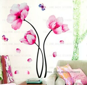 Large-Pink-Peony-Flowers-Vinyl-Wall-Stickers-Art-Decals-Wallpaper-Decor-Home-DIY