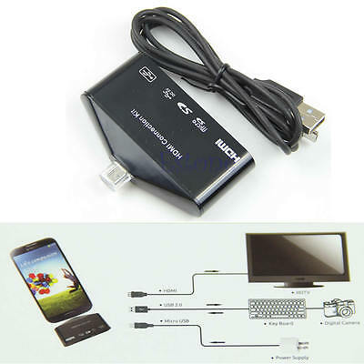Micro USB OTG Card Reader HUB MHL to HDMI HDTV TV Adapter For Galaxy S3 S4 Note2
