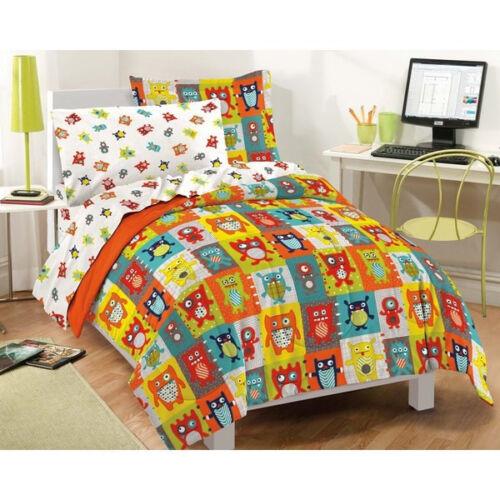 ULTRA SOFT CARTOON BOY GIRLS ORANGE RED BLUE FUN COMFORTER SHEETS BED IN BAG SET