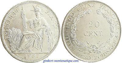 INDOCHINE  ,  20  CENT  ARGENT  1937  A  PARIS ,  SUPERBE  À  FLEUR  DE  COIN 13