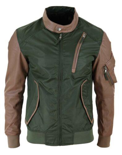 Bomber homme blouson style biker nylon manches simili cuir PU vintage slim