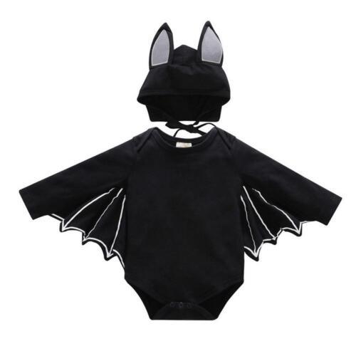 Kids Bat Jumpsuit Halloween Cosplay Costume for Baby Boy Girls Bodysuit with Hat