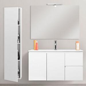 Mobili da bagno salvaspazio cm 80x36 lavabo + specchiera + colonna ...