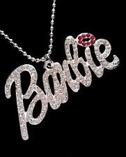 Barbie Silver Iced Out Crystal Large Pendant Necklace *UK*