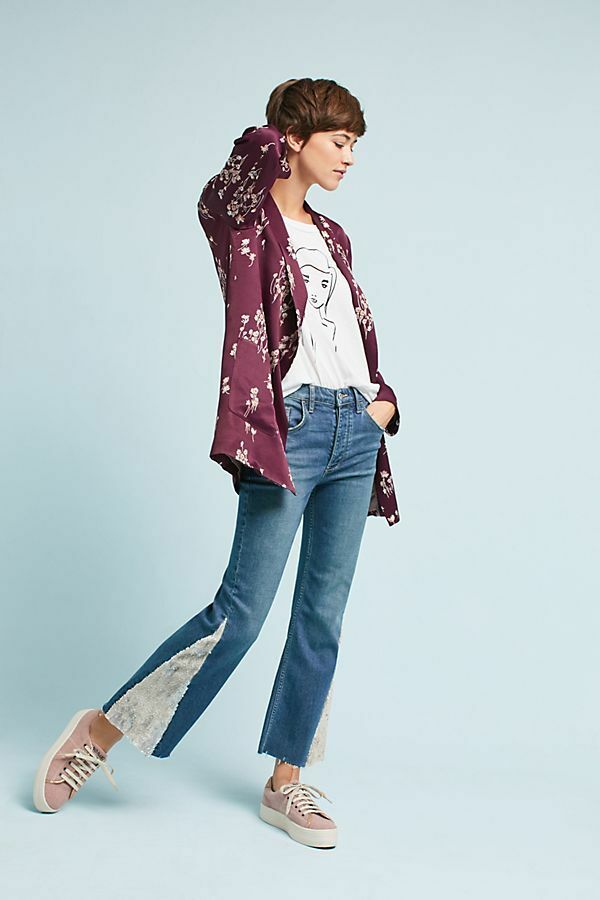 NWT NEW ANTHROPOLOGIE PILCRO CRAFTED HIGHRISE CROP SEQUIN FLARE DENIM JEANS 33
