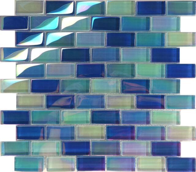 10SF Blue Iridescent Brick Pattern Glass Mosaic Tile Kitchen Backsplash Shower