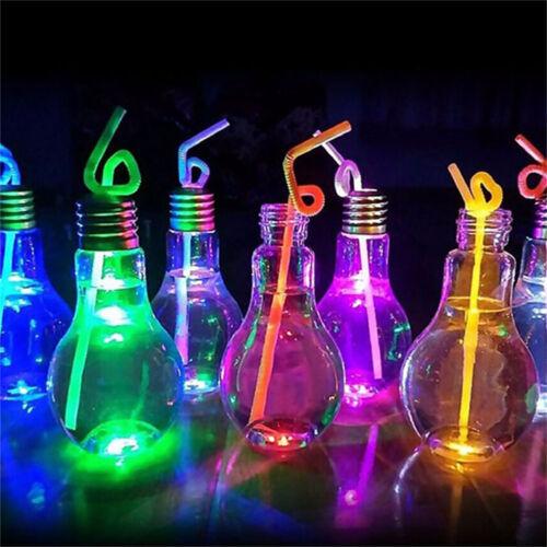 LED Glowing Bulb Water Bottle Brief Cute Milk Juice Light Bulbs Cup Leak-proof