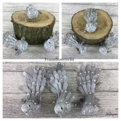 3 Small Decorative Bird/'s On clip x 3 Great For Wedding Christmas Tree Party