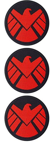 """Agents of Shield Red Eagle Embroidered 3/"""" in Diameter Iron on Patch Set of 3"""