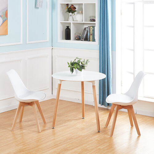 Round Dining Table And 2 Dining Chairs Retro Solid Wood For Small Kitchen White Ebay