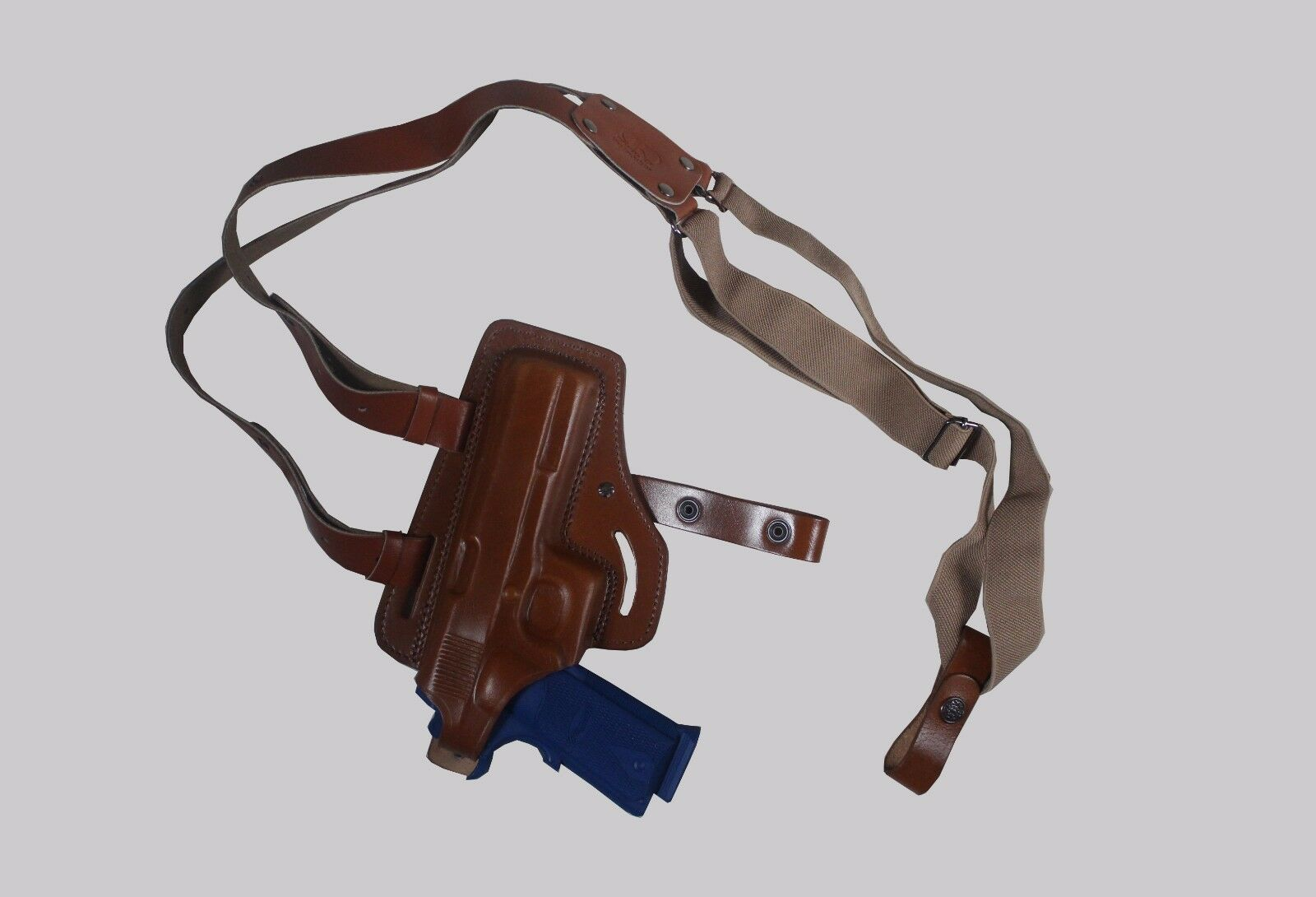 KHS0343 Horizontal Shoulder & Belt Holster Thumb Break Colt 1911 Handmade (2in1)