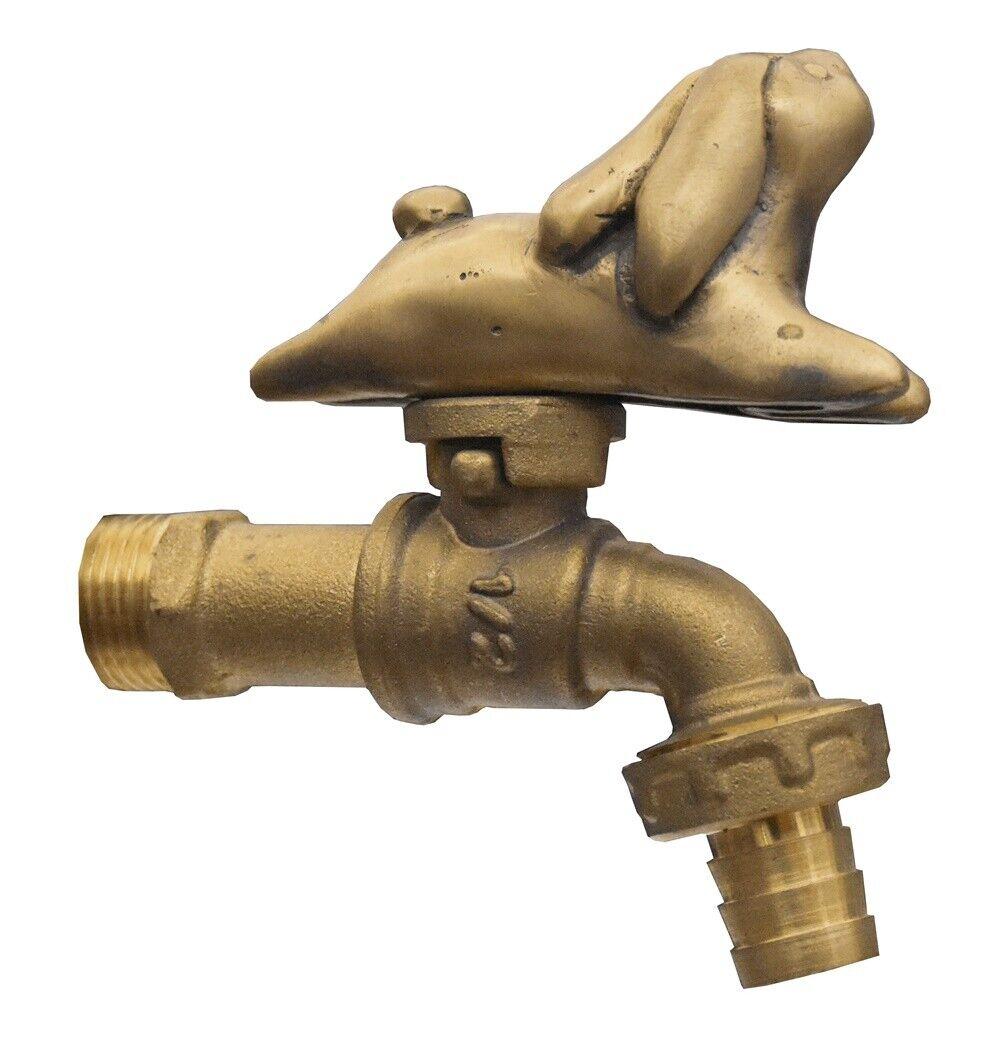 Brass Garden Tap Faucet Cartoon Rabbit Spigot Vintage Water Home Decor Outdoor