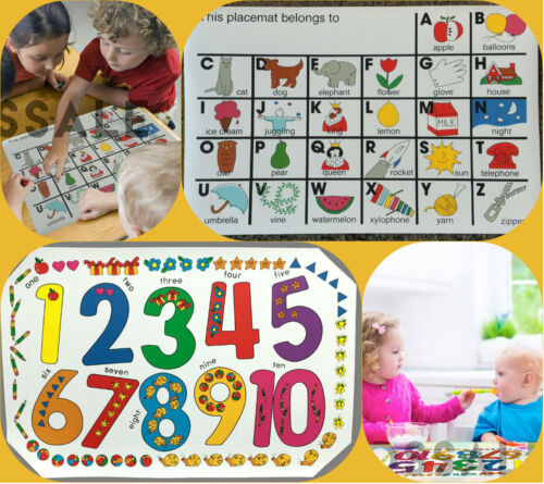Set of 2 Kids Numbers /& Alphabet Place Mat Placemats Table Mats Children Party