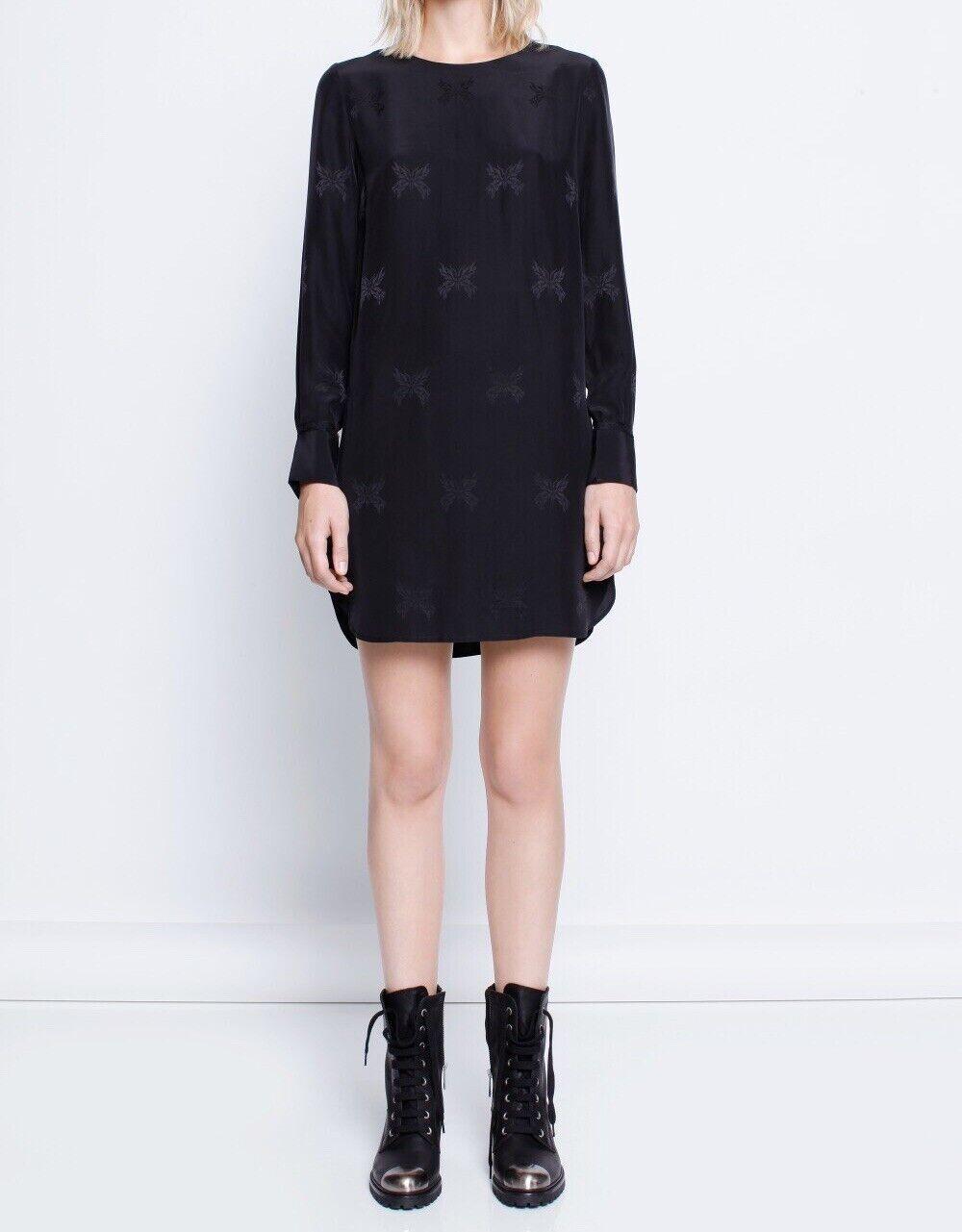 ZADIG & VOLTAIRE Rive Jac schwarz Long Sleeve Silk Dress W Logo Buttons Größe M
