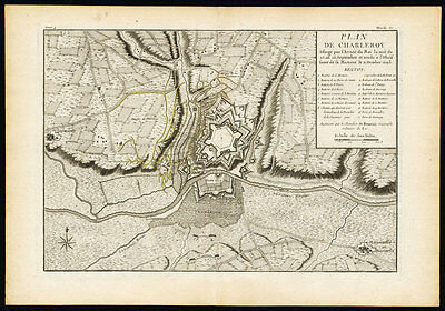 Earnest Antique Map-battle-belgium-charleroi-siege-fortress-beaurain-1776 Easy To Lubricate Maps, Atlases & Globes Europe Maps