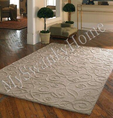 8 X 10 Hand Tufted Beige Tan Embossed Scroll Wool Area Rug Neiman Marcus Raised Ebay
