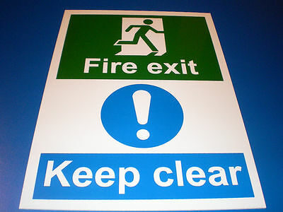 Emergency Mandatory Safety Fire Exit Keep Clear A4 Plastic Fire Door Sign