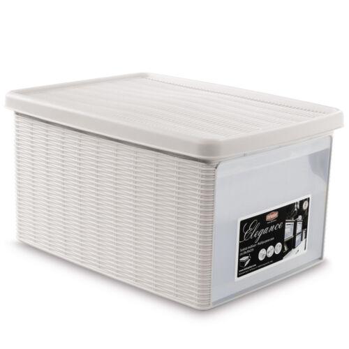 Aufbewahrungsbox Organiser Kunststoff Schuhbox Stapelbox Rattan Box Stapelbar