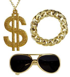 Hustler Rapper Zuhälter Set Brille Dollar Kette Glieder Armband Dandy Pimp Proll