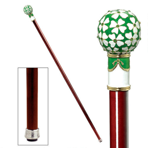 Lucky Four Leaf Clover Enameled Fob Handle Hardwood Cane Walking Stick