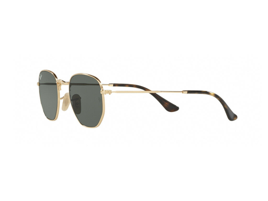 9d85788d25 Ray-Ban Hexagonal Flat Lens Sunglasses in Gold Green Rb3548n 001 54 ...