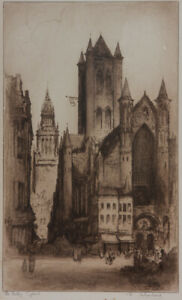 Edward-Sharland-Early-20th-Century-Etching-The-Belfry-Ghent