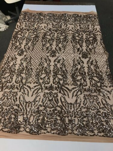 KHAKI-NUDE SHINY SEQUIN DAMASK DESIGN EMBROIDERY ON A 4 WAY STRETCH MESH-1 YARD.