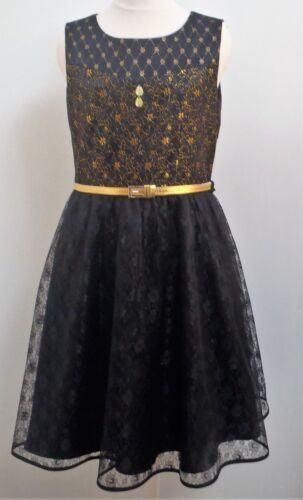 Girls teens black gold lace sleeveless mid lenght dress ages 11-16 years