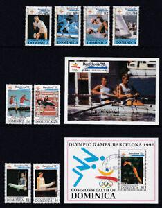 Dominica-1992-Used-FU-Full-Set-Minisheets-Barcelona-Olympics-Sports-Rowing-Swim