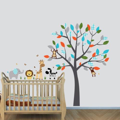 Tree Art Boy Nursery Room Wall Sticker Jungle Animal Tree Decal Animal Mural