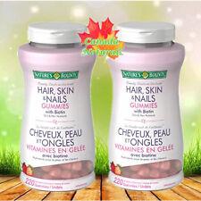 2x Nature's Bounty Hair Skin Nails Gummies 220 Strawberry Flavoured With Biotin