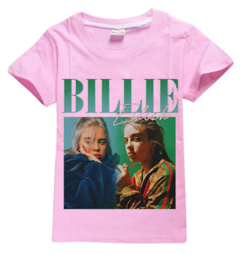 New Cute Kids Girls Billie Eilish T shirt Summer Casual Tops Clothes 4-12Years