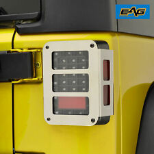 Eag Tail Light Lamp Guard Cover Chrome Rear Fit For 07 18 Jeep Wrangler Jk Fits Jeep