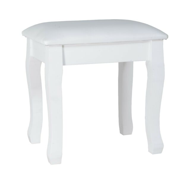 Pleasing Vanity Stool Padded Makeup Chair Bench With Solid Wood Legs White Black Gmtry Best Dining Table And Chair Ideas Images Gmtryco