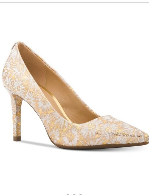 NIB - Michael Kors Pumps Dorothy Flex Metallic Embossed Gold Floral Pump Size 9