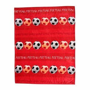Football-Couverture-Polaire-Enfants-Souple-Haute-Qualite-Rouge