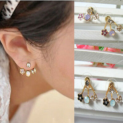 Korean Hot Cute Crystal Rhinestone Butterfly Flower Ear Stud Mounted Earring
