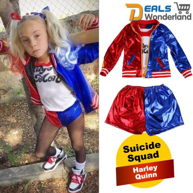 Children kid girl halloween cosplay Harley Quinn costume fancy dress 4 pc set