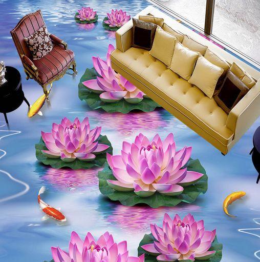 3D Bloomy Flowers Fish Floor WallPaper Murals Wall Print Decal 5D AJ WALLPAPER