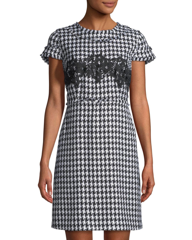 Karl Lagerfeld Woherren Houndstooth Tweed Sheath Dress, Größe 6, schwarz Ivory, NWT