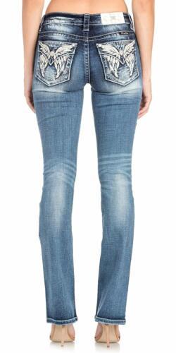 Miss Me White Angels Wings Medium Dark Wash Mid-Rise Boot Cut Jeans M5936SB2
