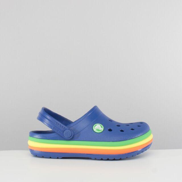 82afb741ea4702 Crocs 205205 RAINBOW BAND Kids Summer Beach Pool Slip On Comfy Clogs Blue  Jean