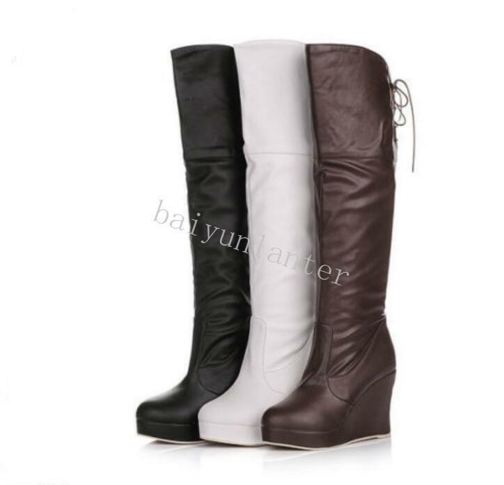 Fashion Women's Wedge High Heel PLatform PU Leather Knee High Boots shoes UK Sz