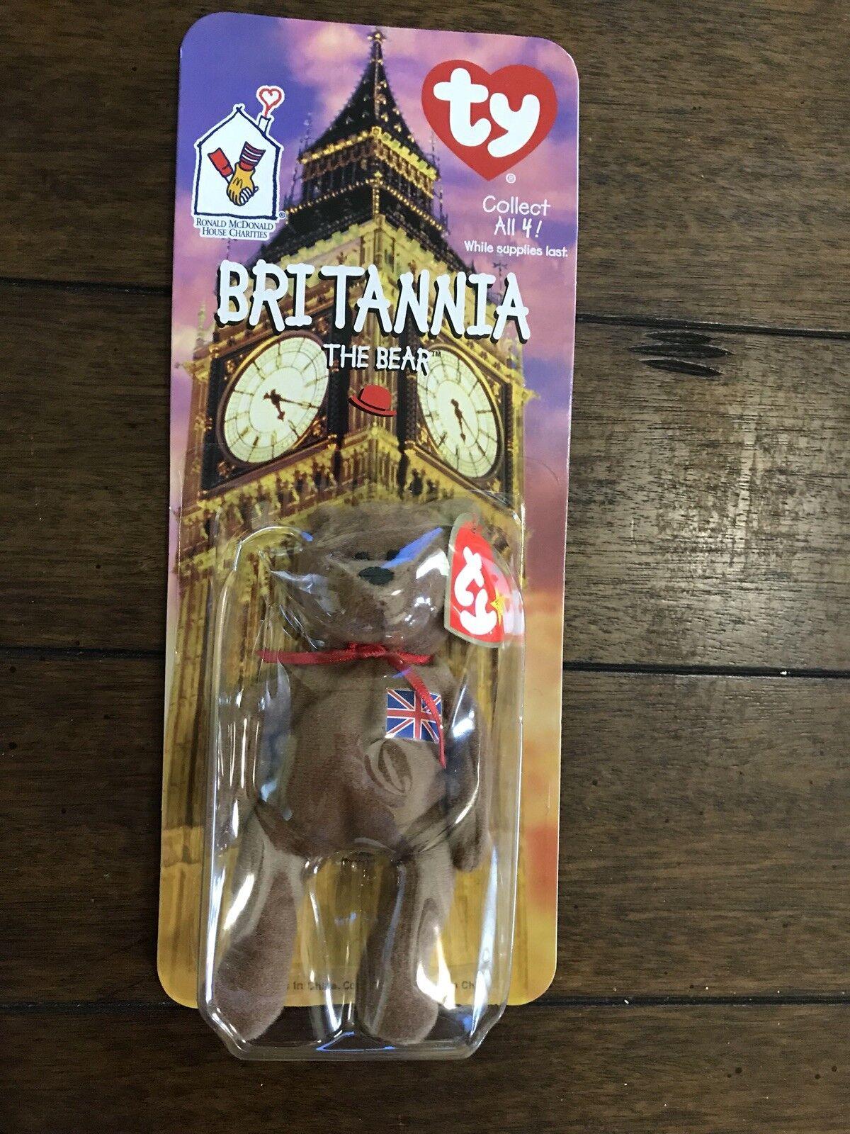 RARE-Ty Brittania the Bear - - - McDonalds Teenie Beanie Retired With Both Errors e1e4b1